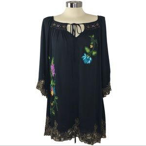 Boho Krista Lee Bead Embroidered Floral Tunic S